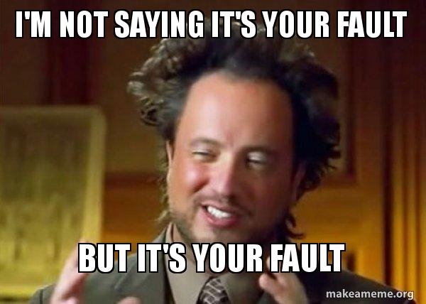 I'm not saying it's your fault but it's your fault gif